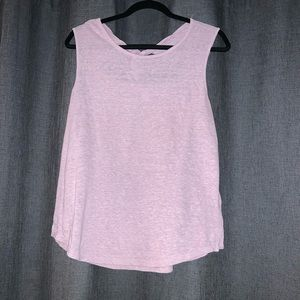 Pink Tank Top with Keyhole Tie Back